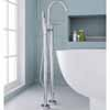 ARIEL 2-Handle Freestanding Roman Tub Faucet with Hand Shower, Chrome, 9-3/32