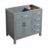 Belmont Decor Hampton Left or Right Offset Single Sink Base Cabinet with Mirror Option in Grey and White Finishes, 36