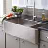 Native Trails Hand Hammered 33'' - 40'' Width Farmhouse 60/40 Duet Double Bowl Kitchen Sink